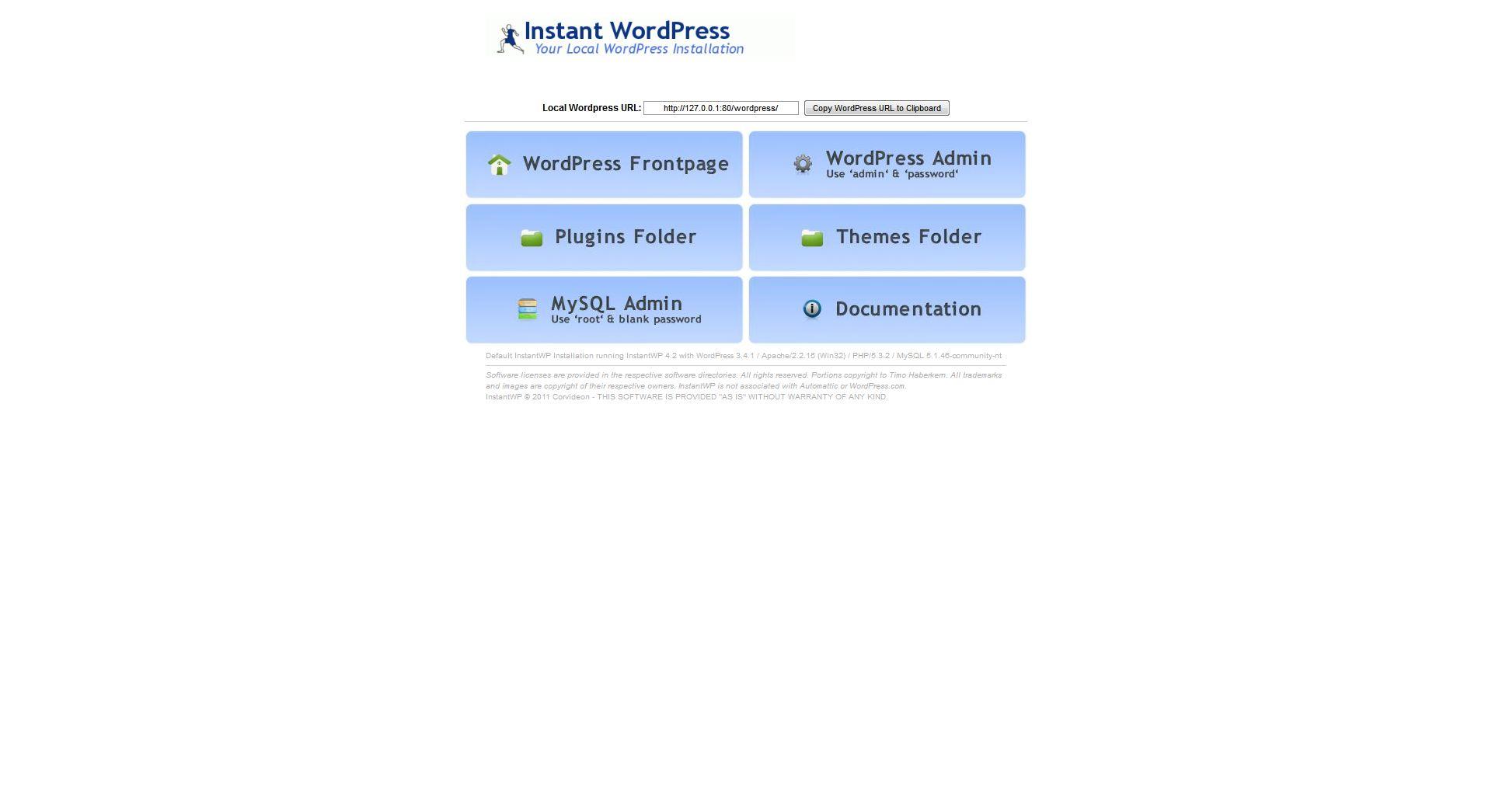 InstantWP dashboard