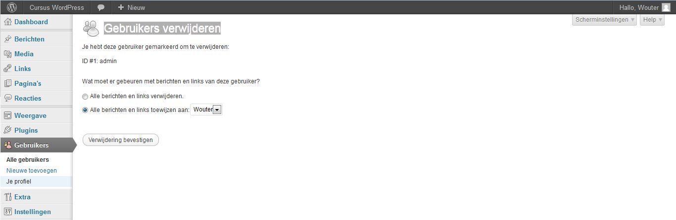 WordPress gebruikersbeheer - gebruiker verwijderen