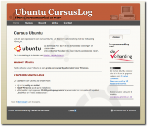 Screenshot van de homepage Ubuntu cursus-site