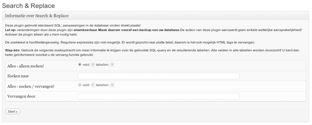 Zoeken in de hele WordPress database