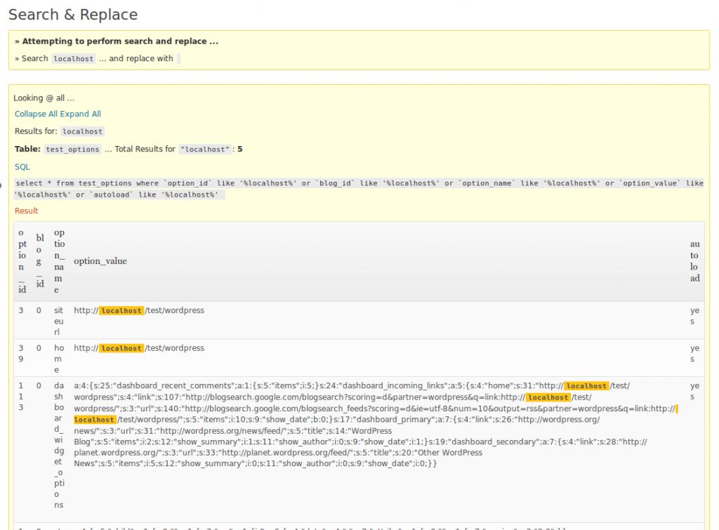 Screenshot zoekresultaten Search and Replace