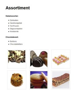 "Screenshot van de pagina ""Assortiment"""