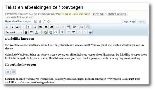 Screenshot van de WordPress editor